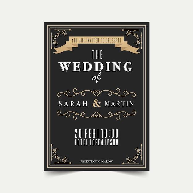 Convite de casamento modelo retrô Vetor grátis
