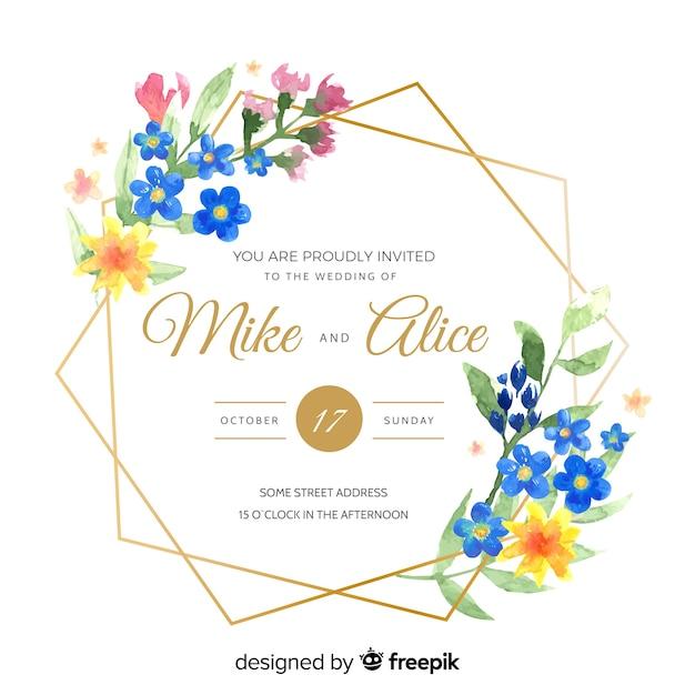 Convite de casamento moldura aquarela Vetor grátis