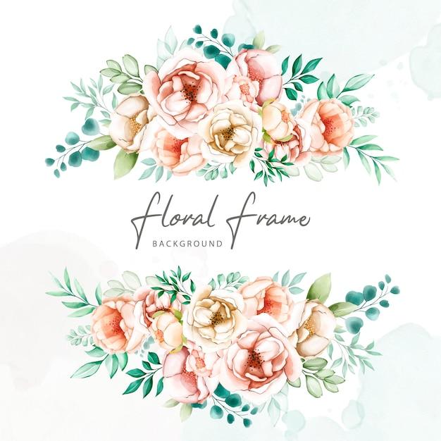 Convite de casamento moldura floral aquarela Vetor Premium