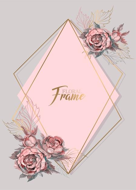 Convite de casamento moldura geométrica com flores em aquarela Vetor Premium