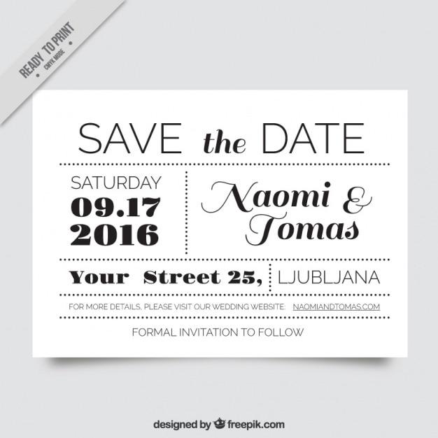 Convite De Casamento Muito Original Em Preto E Branco Vetor Gratis