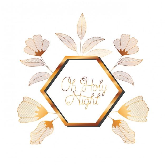 Convite de casamento no quadro dourado com flores Vetor Premium