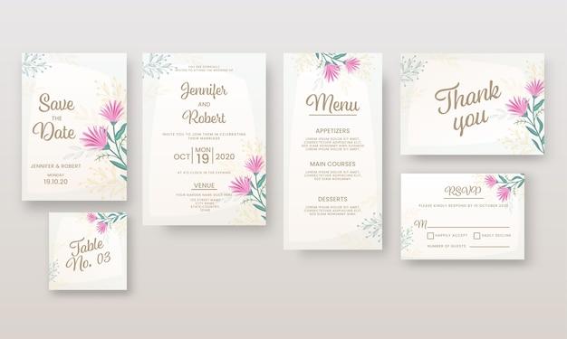 Convite de casamento ou layout de modelo como salvar a data, local, menu, mesa, não, obrigado e cartão de rsvp. Vetor Premium