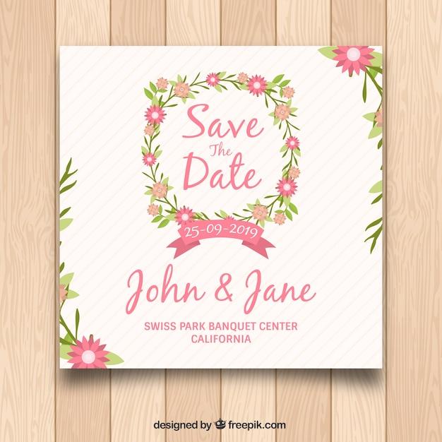 convite de casamento plano com moldura floral baixar vetores grátis