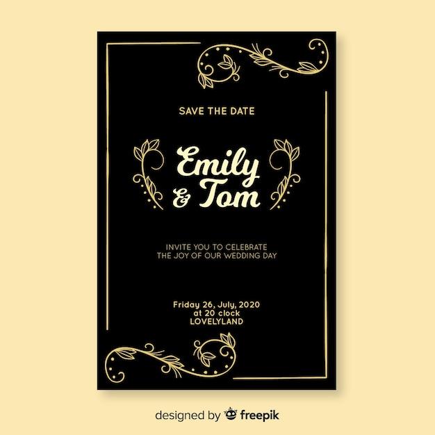 Convite de casamento preto com modelo retrô Vetor grátis