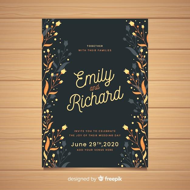 Convite de casamento preto com moldura floral Vetor grátis