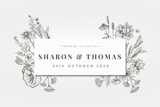 Convite de casamento realista mão desenhada flores Vetor grátis