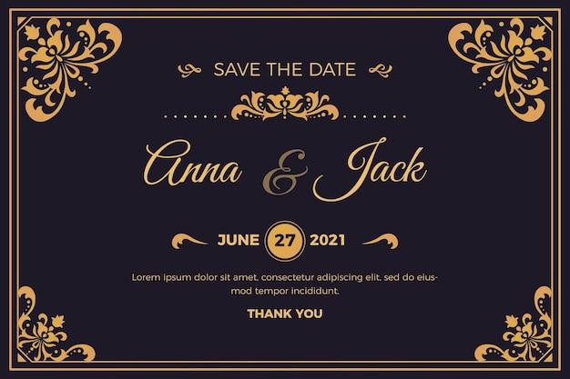 Convite de casamento retrô lindo Vetor grátis