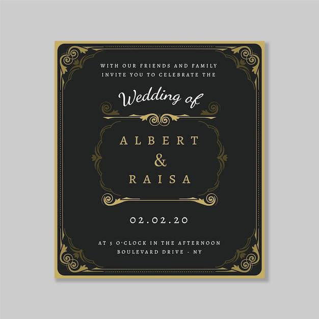 Convite de casamento retrô modelo Vetor grátis