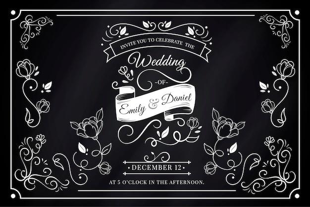 Convite de casamento retrô Vetor grátis