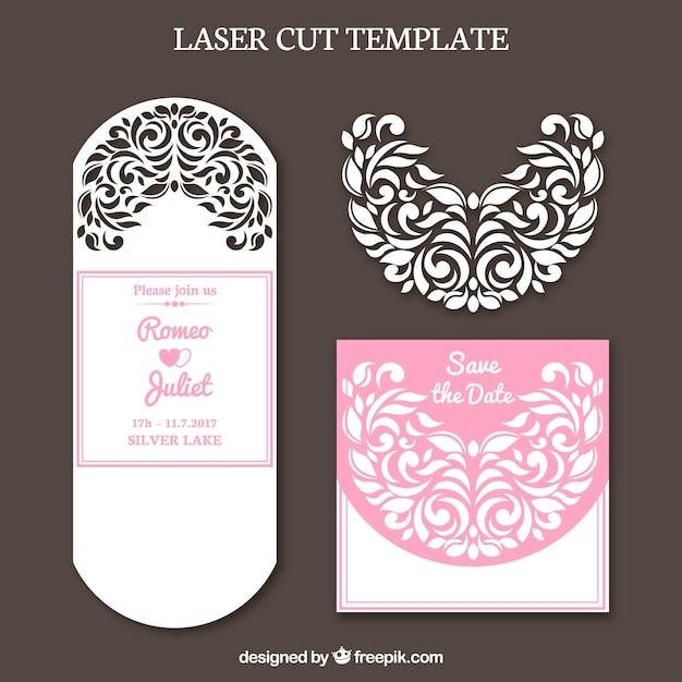 Convite de casamento romântico com corte a laser Vetor Premium