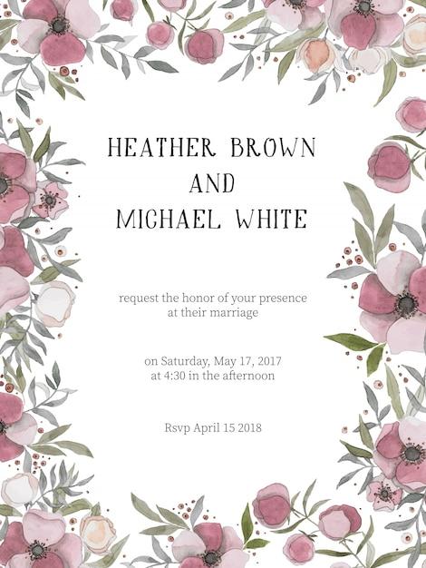 Convite de casamento romântico com flores cor de vinho ...