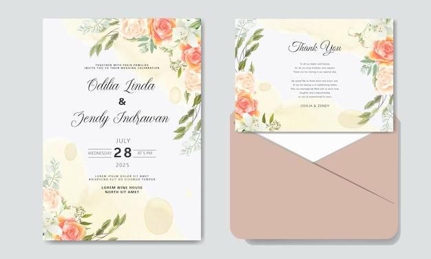 Convite de casamento romântico com temas de lindas flores Vetor Premium