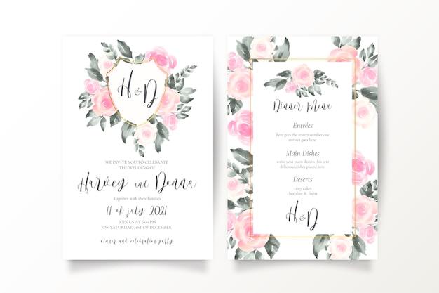 Convite de casamento rosa suave e modelo de menu Vetor grátis