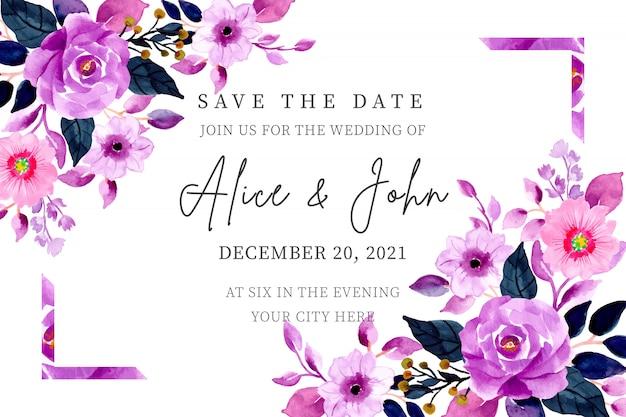 Convite de casamento roxo com aquarela floral Vetor Premium