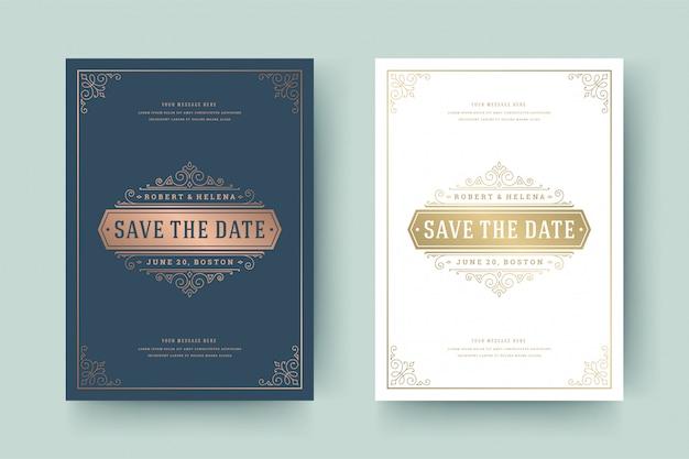 Convite de casamento salvar a data cartão dourado floresce ornamentos vinheta redemoinhos Vetor Premium