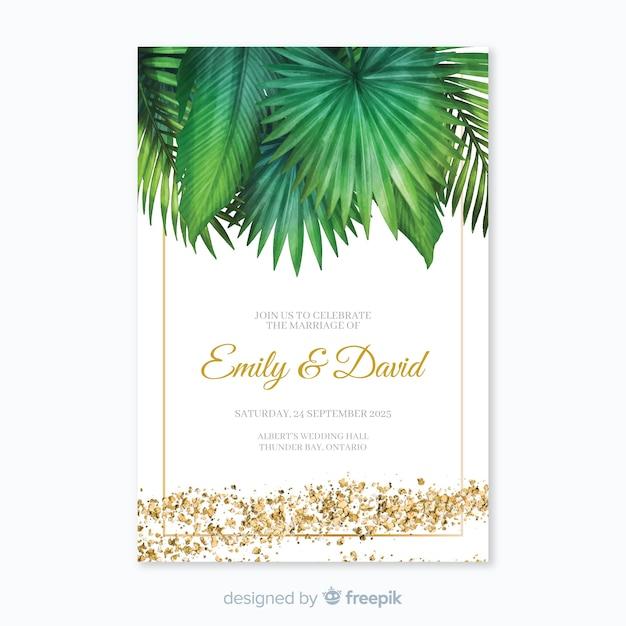 Convite de casamento tropical Vetor grátis