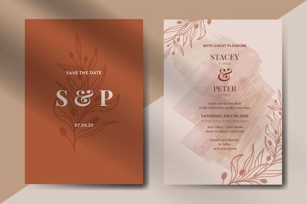 Convite de casamento vintage abstrato com folhas Vetor grátis