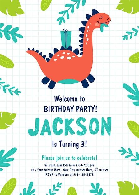 Convite de festa de aniversário de dinossauro. Vetor Premium