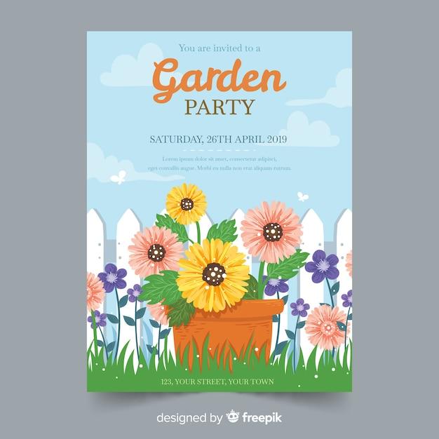 Convite de festa de jardim mão desenhada primavera Vetor grátis