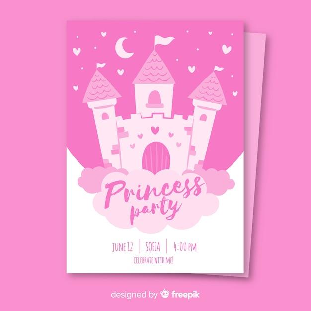 Convite de festa de princesa desenhada de mão Vetor Premium