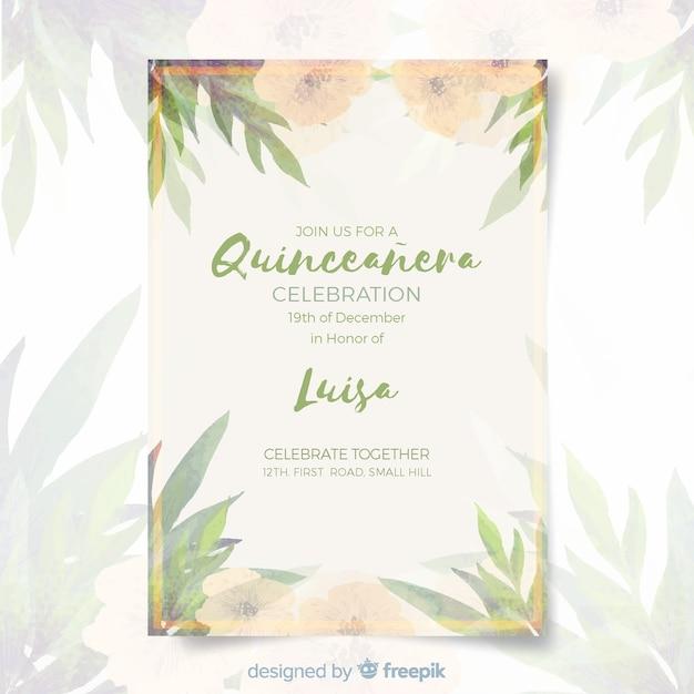Convite de festa de quinceañera com folhas Vetor grátis