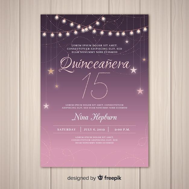 Convite de festa estrelado quinceañera Vetor grátis