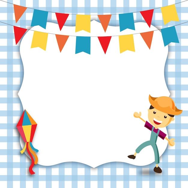 Convite de festa junina do menino Vetor Premium