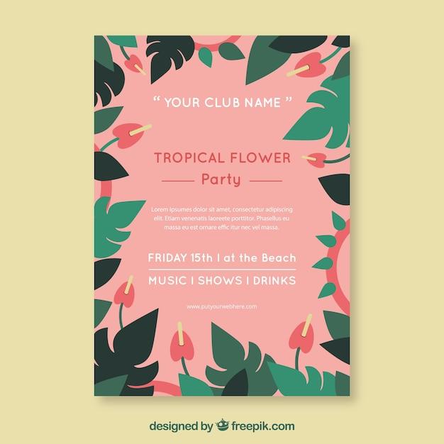 Convite De Festa Muito Tropical Com Flores Baixar Vetores Grátis