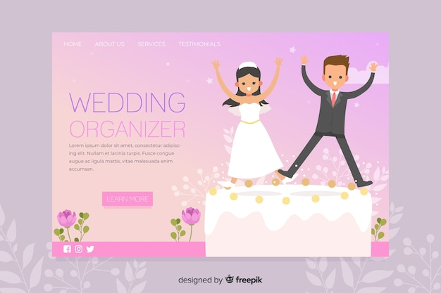 Convite de festas da página de destino do casamento Vetor grátis