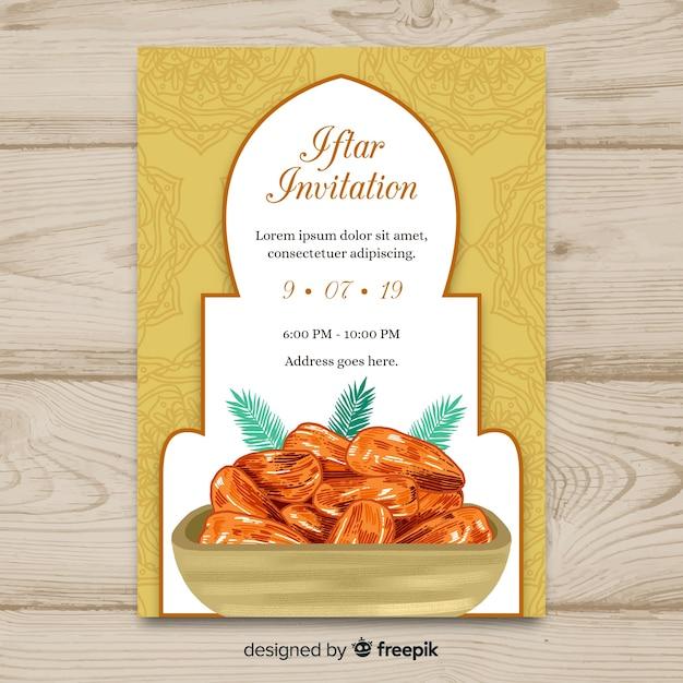 Convite de iftar desenhada mão Vetor grátis