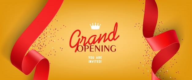 Convite de inauguração com confetes, fitas vermelhas Vetor grátis