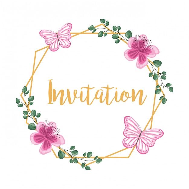 Convite de moldura decorativa flor Vetor Premium
