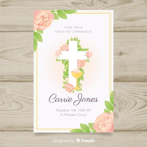 Convite de primeira comunhão floral Vetor grátis