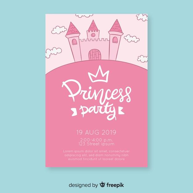 Convite de princesa de aniversário de castelo desenhado de mão Vetor grátis