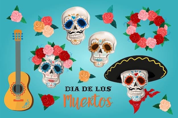 Convite definido para o dia da festa morta. dea de los muertos cartão Vetor Premium