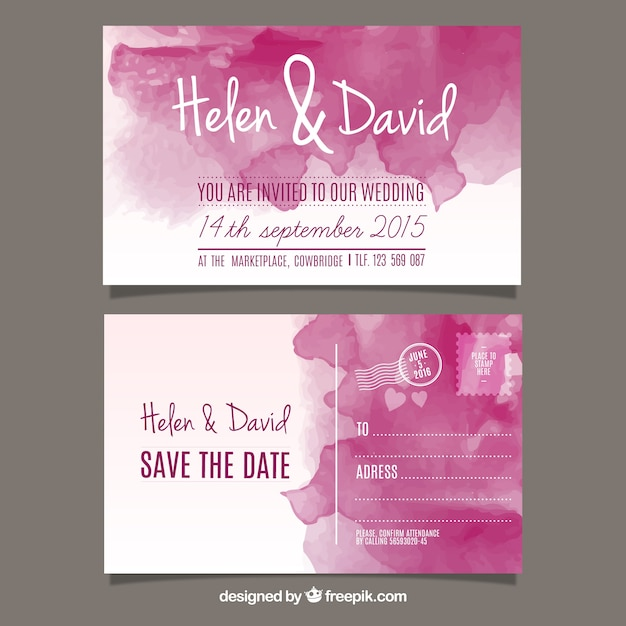 Convite do casamento da aguarela no estilo pós cartão Vetor grátis