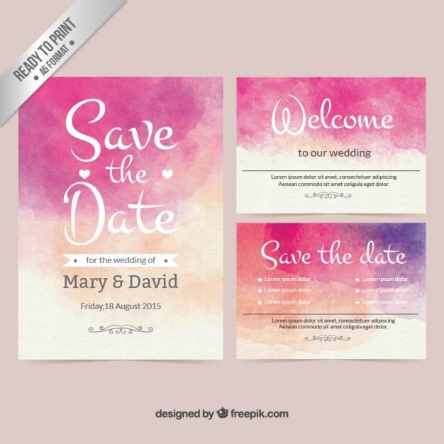 Convite do casamento da aguarela Vetor grátis