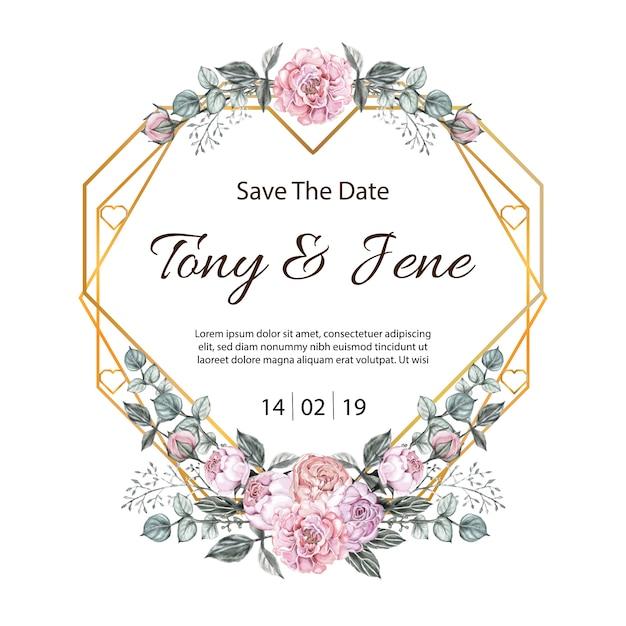 Convite do casamento do vintage das flores de rosa. Vetor Premium