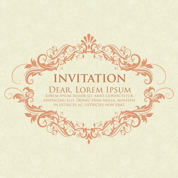 Convite do casamento e cartão do anúncio com arte finala do fundo do vintage. fundo ornamentado de damasco elegante. ornamento abstrato floral elegante. modelo de design. Vetor grátis