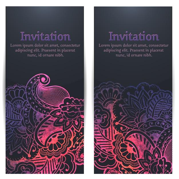 Convite do casamento e cartão do anúncio com arte finala floral do fundo. Vetor grátis