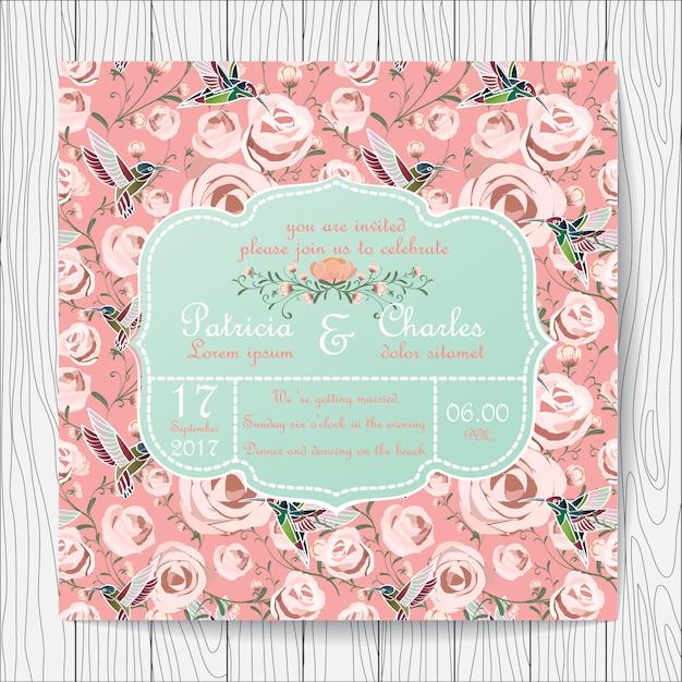 Convite Do Casamento Rosas E Fundo Beija Flores Baixar Vetores Premium