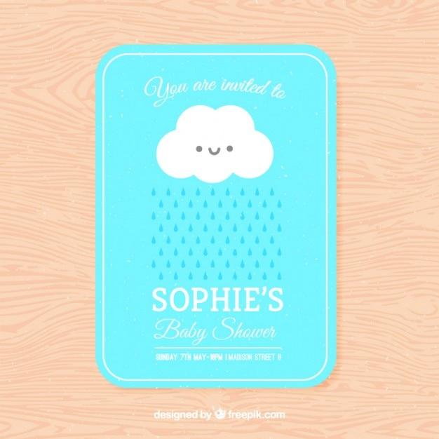 Convite Do Chá De Bebê Adorável Com Uma Nuvem Baixar Vetores Grátis