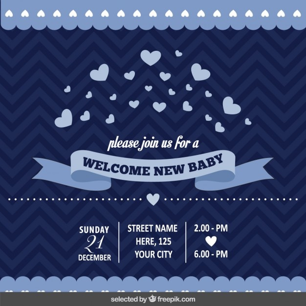 Convite Do Chá De Bebê Azul Escuro Baixar Vetores Grátis