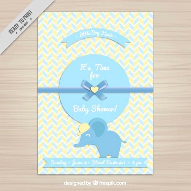 Convite Do Cha De Bebe Com Um Elefante Azul Vetor Gratis