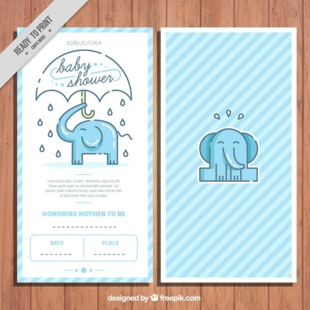 Convite do chá de bebê com um elefante bonito Vetor grátis