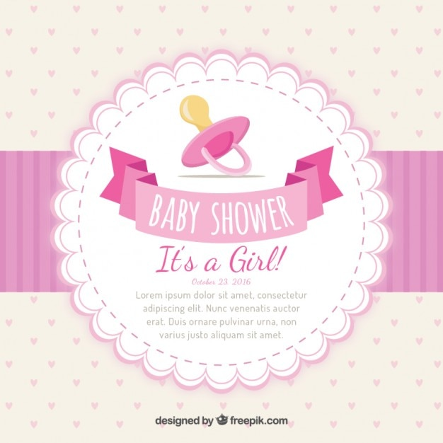 Convite do chá de bebê de menina Vetor Premium