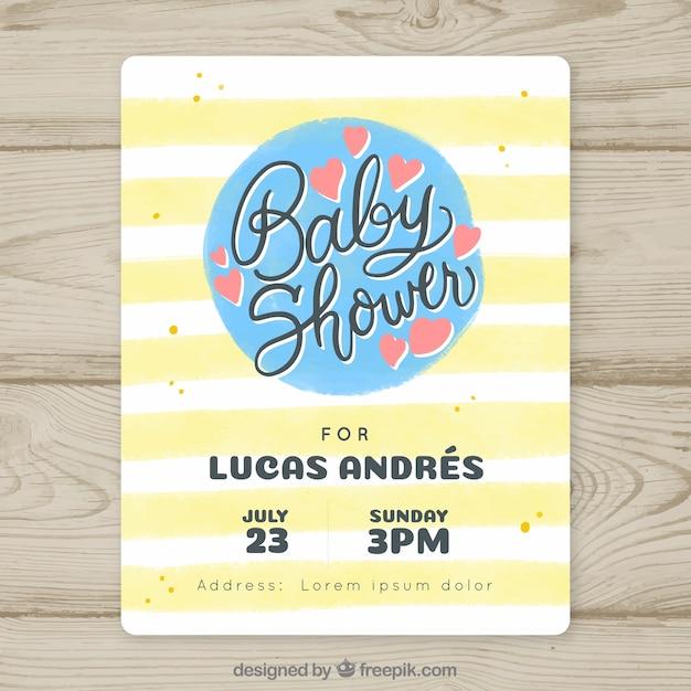 Convite do chuveiro de bebê com linhas amarelas Vetor grátis