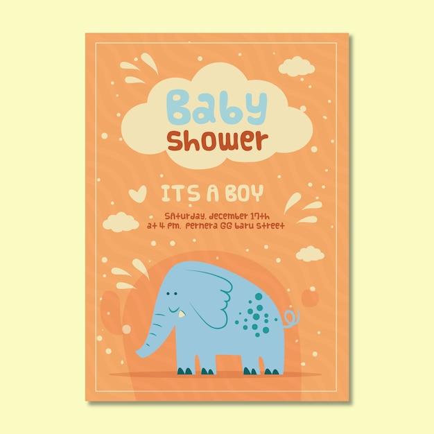 Convite do chuveiro de bebê para menino com elefante Vetor grátis