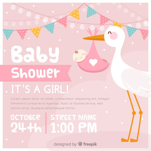 Convite do chuveiro de bebê Vetor grátis